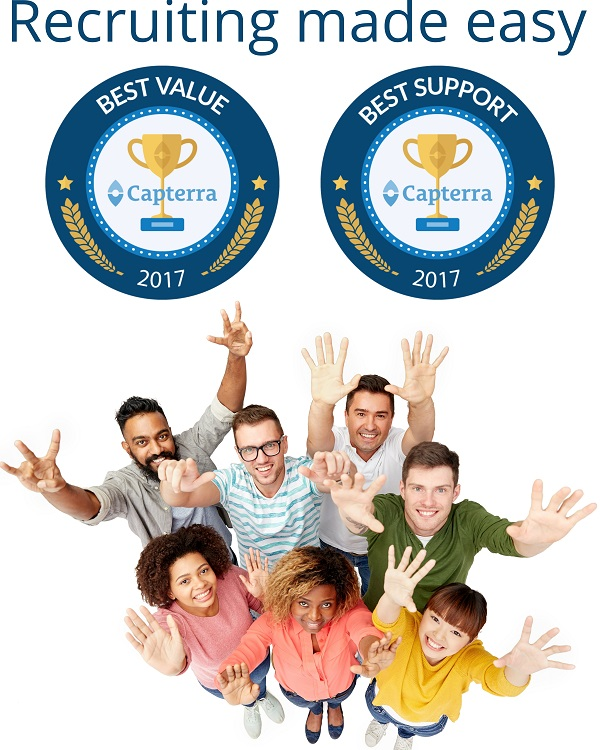 Capterra awards for CVMinder ATS Best Value Applicant Tracking System 2017 and Best Support 2017